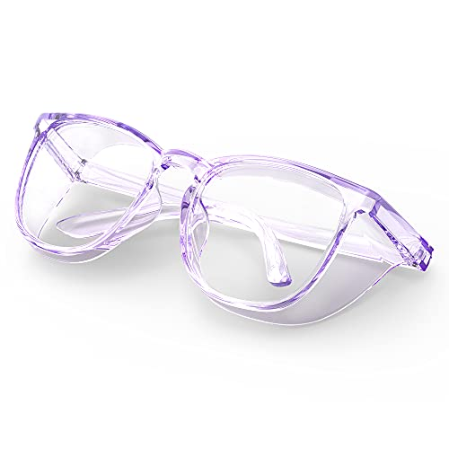 Protective Eyewear Stylish Safety Glasses, Clear Anti-Fog Anti-Scratch Protective Glasses For Men And Women (Purple)