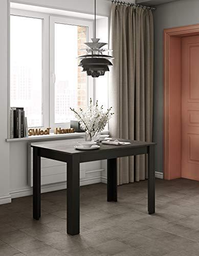 TemaHome Table à Manger Nice, Panneaux de Particules Mélaminés, Noir et Béton, 110 x 70 x 73 cm (LxLxH)