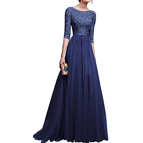 Women's Vintage Floral Lace 3/4 Sleeves Long Cocktail Bridesmaid Maxi Dress Floor Length Retro Formal Wedding Pageant Evening Prom Party Dance Gown Plus Size V-Neck Pleated Swing Dress Navy S