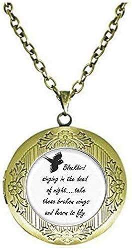 Vintage Blackbird Singing in The Dead of Night Locket Necklace Song Lyrics Art Jewelry Art Picture Jewelry