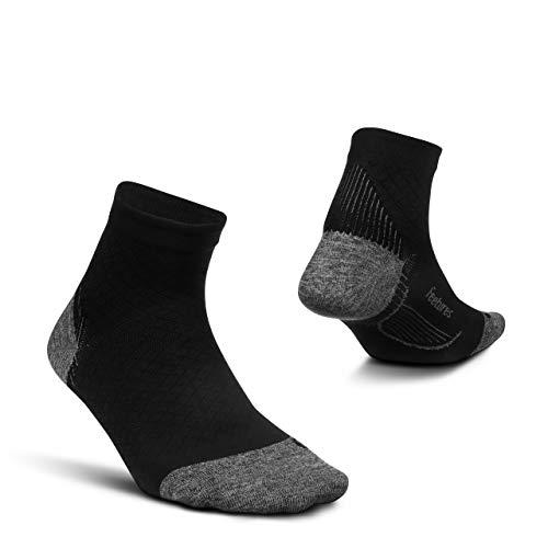 Feetures - Plantar Fasciitis Relief Ultra Light Cushion Sock - Quarter - Stütze des Fußgewölbes für Herren und Damen - Schwarz - Größe L
