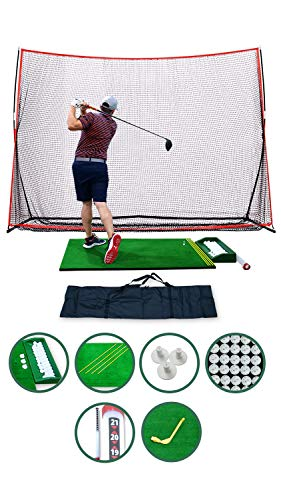 SharperGolf Complete Home Driving Range Golf Net and Mat Combo, 10x7ft Golf Hitting Net, 3x5ft Golf Hitting Mat, Carry Bag, Accessories, Golf Training Set Indoor Outdoor