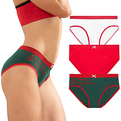 DEEP TOUCH Women Merry Christmas Underwear Bikini Briefs Hipster Panties Cheeky Panty for Lasies