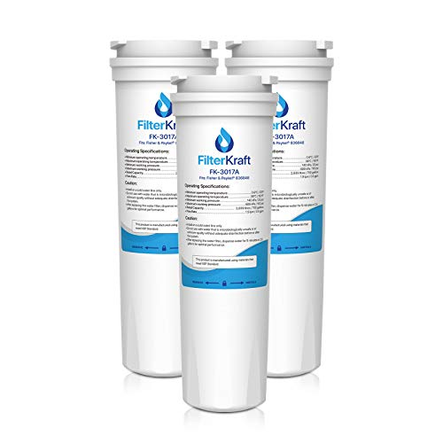 FilterKraft FK-3017A Compatible Fridge Freezer Internal Water Filter Cartridge Replacement for Fisher & Paykel 836848, 836860, WF60; Amana Clean 'n Clear 67003662, RO185014, RO185011, C2 (3)