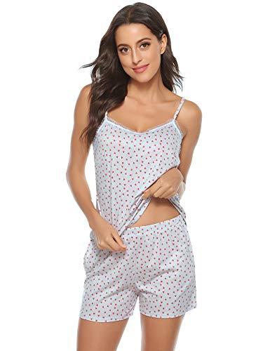 Aiboria Algodón Pijamas Mujer Verano Cortos 2 Piezas Camiseta Tirantes Mujer y Pantalón Corto