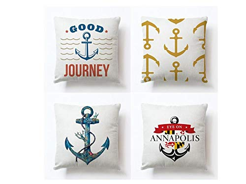 Jwqing Pack of 4 Decorative Pillow Covers Colorful Printed Anchor Pattern Square Cushion Cover Throw Pillow Covers Home Decor for Sofa Bedroom-A_60x60cm(Cushion_Cover)