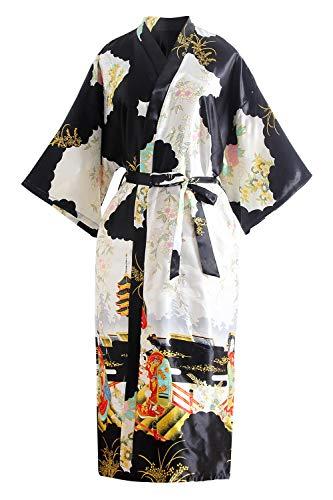 YAOMEI Novia Mujer Vestido Kimono Satén, Camisón para Mujer, Sedoso Flores de Geisha Robe Albornoz Dama de Honor Ropa de Dormir Pijama, S-2XL (Busto: 126cm, de S a 2XL,...