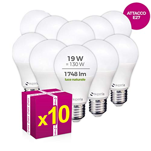 Superia Lampadina LED E27 Goccia, 19W (Equivalenti 130W), Luce Naturale 4000K, 1748 lumen, SG27N, Pacco da 10