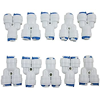 ZAOJIAO 1//4 Tee 3 Way Tube Quick Connect Push Fit Fittings for RO Water Reverse Osmosis System Pack of 10
