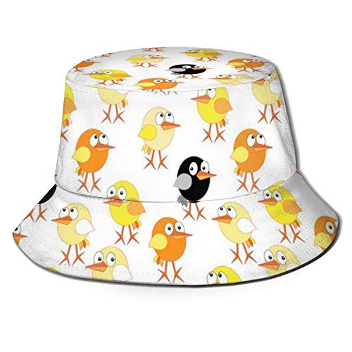 LLALUA Unisex Summer Fisherman cap,Childrens Cartoon Design with Oval Shaped Baby Chickens of Many Colors,Travel Beach Outdoor Sun Hat