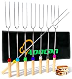 Aoocan marshmallow roasting sticks Telescoping Rotating Smores Skewers Hot Dog - 32 inches - Set of...