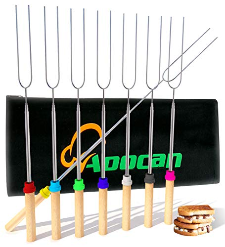 Aoocan Marshmallow Roasting Sticks, Smores Sticks for Fire Pit, Set of 8 Telescoping Rotating Smores...