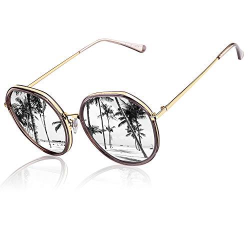 CGID Klassische Oversized Runde Polarisierte Sonnenbrille für Frauen Retro Damen Sonnenbrille 100 % UV400 Brille Transparenter Brauner Rahmen Verspiegelte Silberne Linse M23