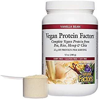 Natural Factors, Vegan Protein Factors, Plant-Based Protein Shake Mix, Vanilla Bean, 12 oz (7 servings)