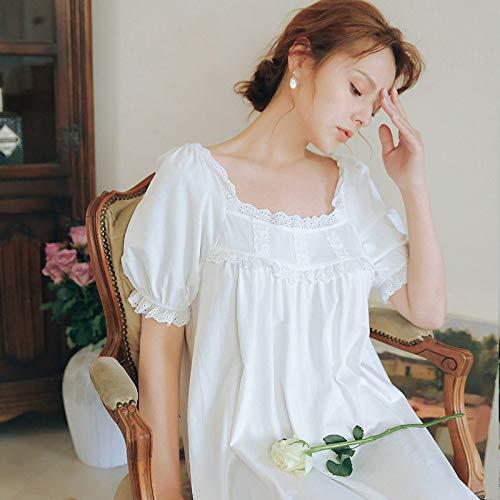 YRTHOR Vestido de Noche gótico Vintage para Mujer, camisón de otoño de Manga Acampanada de algodón Blanco con Cuello en V y Dobladillo con Volantes Adornado,Blanco,XL