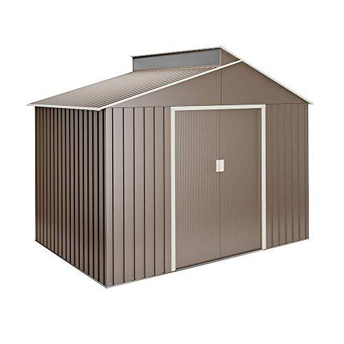Hoggar by Okoru Cobertizo Premium Metal para Almacenamiento 5,44m2-282x192x222cm. Casta Jardin terraza
