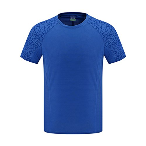 emansmoer Homme Col Rond Manches Courtes Quick Dry Wicking T-Shirt Respirant Outdoor Sport Course Pêche Tee Tops (XXXX-Large, Bleu)