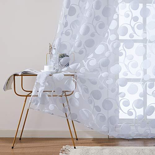 Topfinel Gardinen Ausbrenner mit Ösen und Blumen-Mustern Voile Vorhänge Fensterdekoration für Wohnzimmer Fenster Tür 2er Set je 245x145cm (HxB) Grau