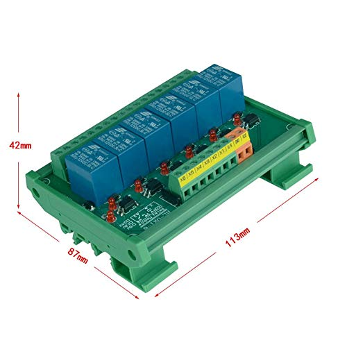 Gimax 6 channel Trigger Voltage Relay Module PLC realy module optocoupler relay module DIN rail mounting. PLC control module - (Color: Input Voltage 12V, Pins: Trigger Voltage 3.3V)