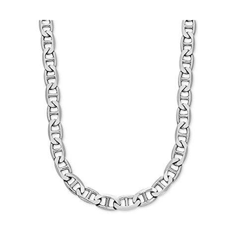 Verona Jewelers 925 Sterling Silver 3.5MM 4.5MM Solid Flat Mariner Link Chain Necklace- Sterling Silver Necklace Chain 18