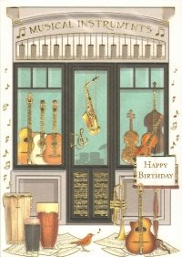 Music Shop Happy Birthday Greetings Card