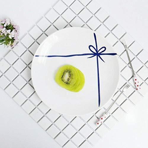 Cuenco de la cultura popular Nordic plato de cerámica creativa plato de desayuno merienda pan cake 8 pulgadas plato de carne plato de vajilla minimalista de estilo japonés cuenco de la cultura popular