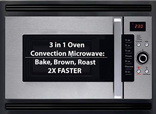 3 in 1 Oven : 24' Built In Convection Microwave Oven w/Black Trim Kit Included. For Home & RV, 2 Year Manufacturers Warranty