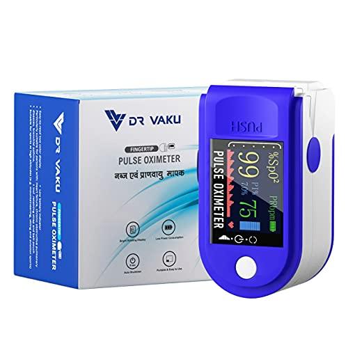 DR VAKU® Fingertip Pulse Oximeter & SpO2 Blood Oxygen Saturation Monitor, Four Directional LED Display with Batteries