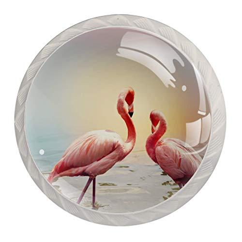 Tirador Para Cajón Flamenco rosa Manija de Cocina Moderno Pomo de Armario cristal Pomos y Tiradore Para Sala de Estar Dormitorio Baño Cocina 4 piezas 3.5×2.8CM