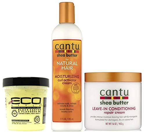Cantu Moisturizing Curl Activator Cream 355ml avec laisser dans la crème de réparation revitalisante 453g et Eco Styler Black Castor Oil et huile de lin Gel coiffant 236ml