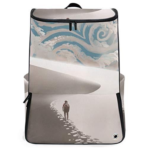 YUDILINSA Viaje Mochila,Viajero espacial caminando sobre dunas de arena,Universitaria Mochila,Laptop Backpack con Compartimento para zapatos