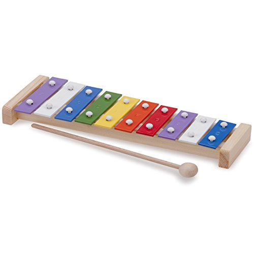 #11 Mein erstes Instrument für Kinder ab 3 Jahren Xylophon mit 10 bunten Metallplatten - Xylofon Glockenspiel Klangplatten Musik Spielzeug
