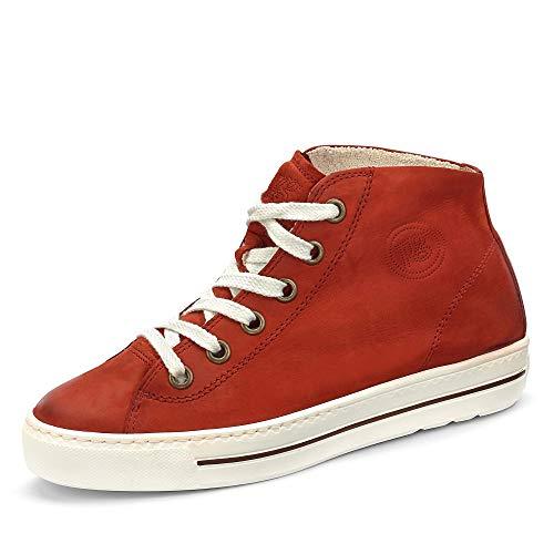 Paul Green Damen Super Soft Hightop-Sneaker, Frauen sportlicher Schnürer, Freizeit leger Halbschuh schnürschuh strassenschuh,Rot,6.5 UK / 40 EU