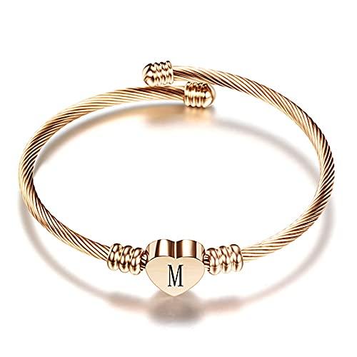 Brazalete de pulsera de corazón de acero inoxidable de color oro rosa con letrasiniciales del alfabeto Charms Pulseras para mujer, SZ1143, M