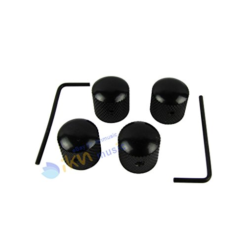 IKN 4pcs Black Dome Guitar Knob Screw Style With Spanner Tone Volume Speed Control Knobs for Guitar Bass