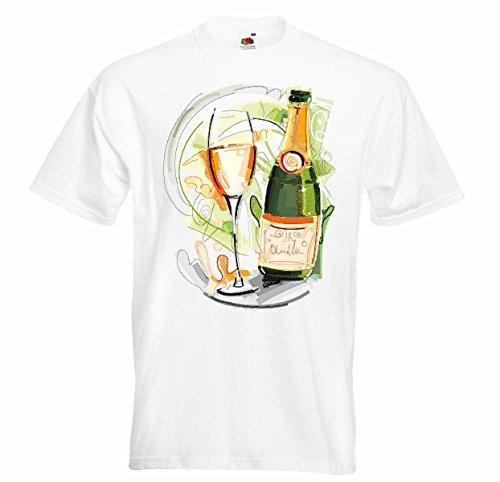 T-shirt voor wijnfles, witte wijn, rood, glas, verjaardag, champagne, bier, wodka, wijn, wit, wijn, alcohol, likeur, wit