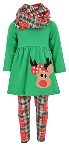 Unique Baby Girls 3 Piece Christmas Rudolph Legging Set (4T) Green