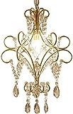 Mini araña de Cristal de 1 luz Lámpara Colgante Champagne Colgante de Cristal Transparente para Vestuario Vestíbulo Cocina Comedor Granja Lámpara Colgante de Techo E14