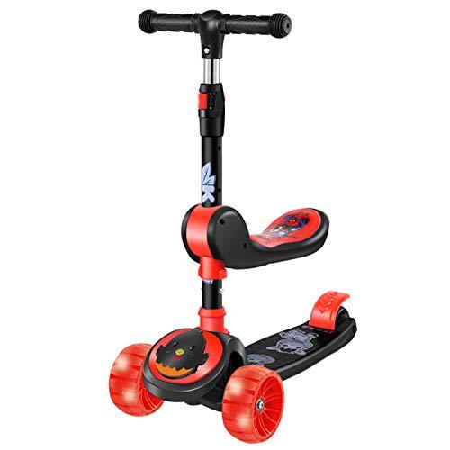 WFSH Scooter Infantil 2-8 años de Edad, Pedal para niños, Tres en uno, Puede Sentarse y Montar un Scooter de bebé (Color : Black)