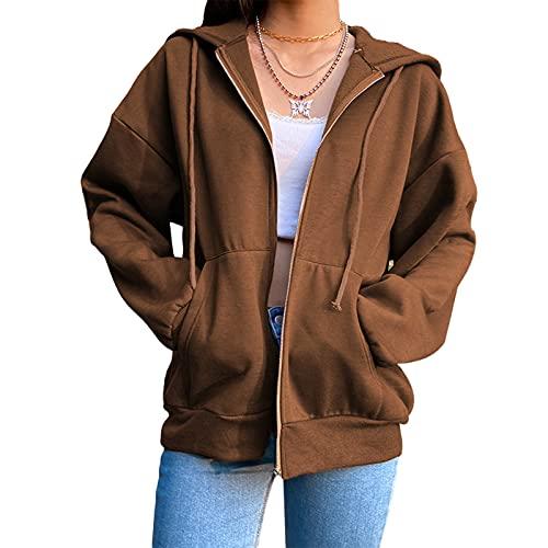 MIEAHORY Damen Kapuzenpullover Sweatshirt Pullover Soft Stretchable Hooded Top Damen Fronttaschen Pullover Sweatjacke (Brown, Medium)