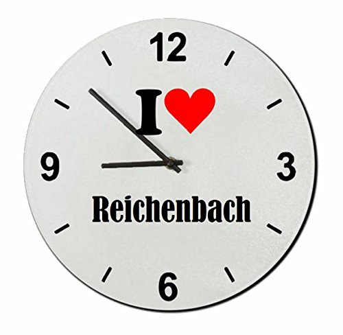 Druckerlebnis24 Exclusivo: Vidrio de Reloj I Love Reichenbach una Gran Idea para un Regalo para su Pareja, colegas y Muchos más! - Reloj, Regaluhr, Regalo, Amo, Made in Germany.