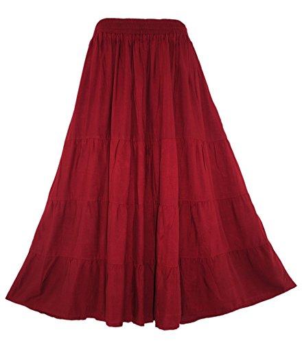 Beautybatik Maroon Women Boho Gypsy Long Maxi Tiered Peasant Skirt 2X