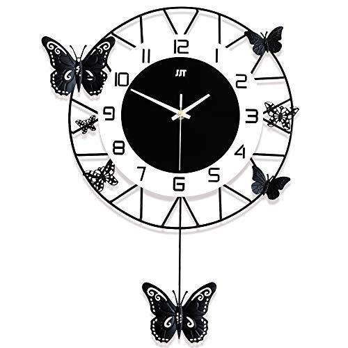 LICHUXIN Reloj de pared de hierro forjado, diseño europeo creativo de hierro y madera, reloj de pared silencioso con péndulo en forma de mariposa, decoración de pared para el hogar, S