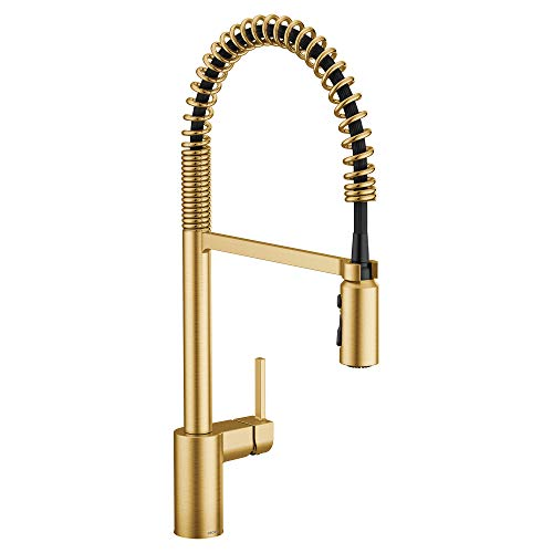 Moen 5923BG Align One-Handle Pre-Rinse Spring Pulldown Kitchen Faucet, Brushed Gold
