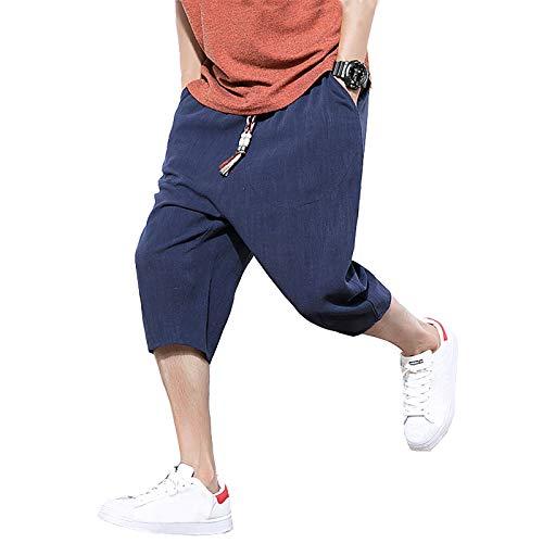 NTNY3 Pantalones cortos de lino para hombre, bermudas, pantalones de verano 4XL. X-Large