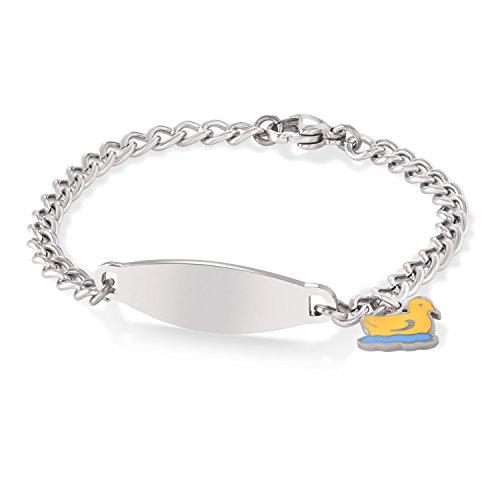 Speidel Children's Identification Bracelet in Silver Tone with Duck Charm- Stainless Steel Engravable Plaque