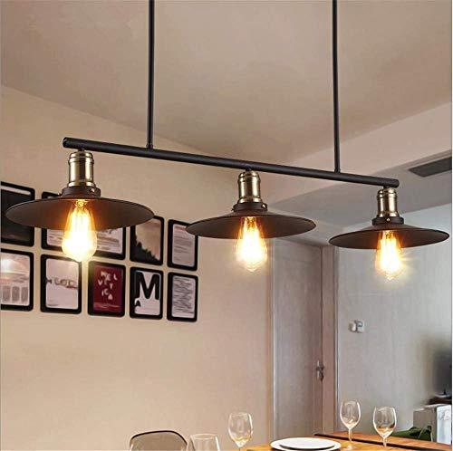 Retro landelijke kroonluchter zwart gelakt van smeedijzer groot creatief 3 koppen plafondlamp rechte E27 diameter 38,5 inch voor bar café woonkamer slaapkamer c