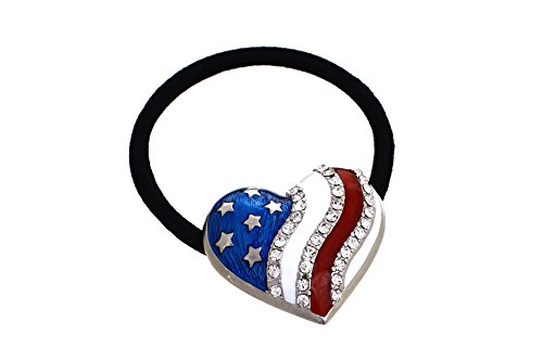 Patriotic Heart Ponytail Holder by Crystal Avenue | Stretchy Elastic Hair Tie | Silvertone and Enamel with Crystal Accents
