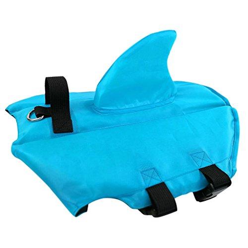 Chien Gilet de Sauvetage - Animaux Manteau à Flotteur Gilet de Flottaison Chiot Bouée de Sauvetage Sécurité pour La Natation avec Boucle Réglable Orange Bleu Multi-Taille