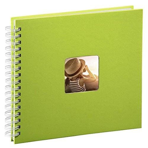 Hama Fotoalbum 28x24 cm (Spiral-Album mit 50 weißen Seiten, Fotobuch mit Pergamin-Trennblättern, Album zum Einkleben und Selbstgestalten) grün